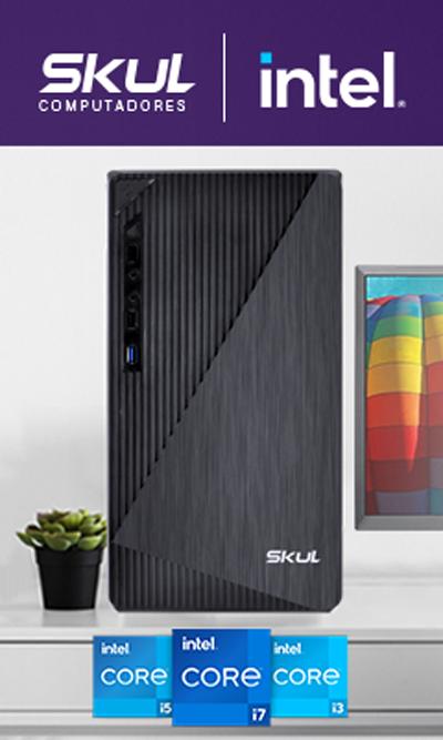 Skul Computadores e Intel. Imagem de gabinete sobre escrivaninha