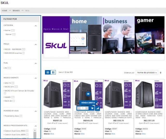 Página do site com diversos computadores da marca SKUL. O cursor do mouse aparece sobre um deles, indicando a opção de Venda Direta.